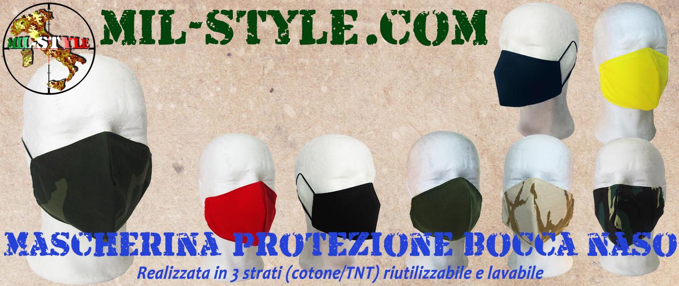 Mascherina protezione bocca e naso, 3 strati riutilizzabile e lavabile